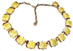 "Excited to share the latest addition to my #etsy shop: Coro Choker Necklace Yellow Confetti Thermoset Princess Stones Gold Metal Chain 17.5"" Vintage https://etsy.me/2lJmM0o #jewelry #necklace #yellow #no #hook #gold #women #yes #curb"