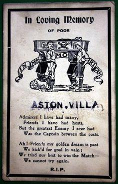 Aston Villa memorial postcard - FA Cup semi final v Bury Bury Fc, Aston Villa Fc, Sir Alex Ferguson, Vintage Football, Fa Cup, Sports Art, In Loving Memory, Birmingham Uk, Semi Final