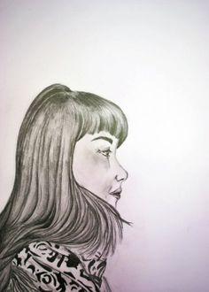 Grafito sobre papel de Sebastián Guerrero.  Retrato / Clase de Arte