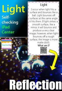Light self-checking QR code activity for iPad classrooms, BYOT, or BYOD schools! Read clues & record answers on answer document. Self-check by scanning the QR code, and each QR code takes students to a labeled image of the light  concept described. Perfect Sicence or Reading Center! Includes: binoculars concave convex flashlight opaque prism rainbow reflection translucent transparent
