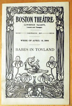 1904 Boston Theatre Babes in Toyland Playbill Boston MA
