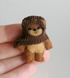 Ewok miniature plush Star Wars character - hand stitched felt figure. You could get a Berrington Bear or old Calico Critter Bear and Turn them into Ewoks by Creating own clothes.......