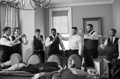 Groom and groomsmen in the Private Dining Room at Pinnacle Golf Club. Photo courtesy of DG Photography. #pinnaclegolfclub #columbusweddings