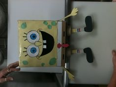 Sponge Bob valentines box  Put the cards in his mouth