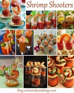 Shrimp Shooters - If want your guests to be impressed with your creativity, consider serving some or all of the food in shooters, especially if you are DIY-ing some or all of your reception meal. Read more http://blog.exclusivelyweddings.com/2014/04/07/impress-your-wedding-reception-guests-serve-the-meal-in-shooters/