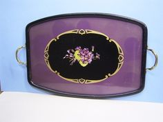 antique tray with violets
