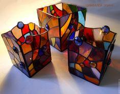 """Купить Подсвечники """"Кусочек счастья"""" - разноцветный, подсвечник, подсвечник из стекла, Витраж, витражи тиффани, подарок"""