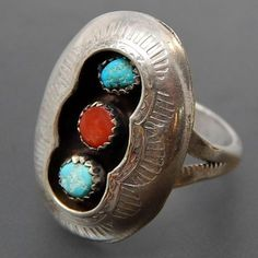 NATIVE AMERICAN CORAL & TURQUOISE SHADOWBOX STERLING SILVER RING - SIZE 7.75