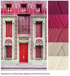 Kleurinspiratie Pink and / Pippin Poppycock Paint Color Combos, Yarn Color Combinations, Colour Pallette, Colour Schemes, Color Patterns, Color Mixing, Art Nouveau, Color Balance, Color Harmony