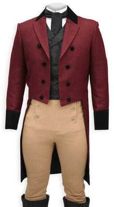 Burgundy Regency Coat over your shoulders and cut a gallant figure at your next festive event. Designed in the cut-away style found in early 19th century fashion, this men's coat is ideal with our Fall Front Trousers for a true period look.