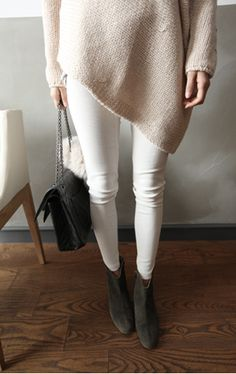 Clean; love the white skinny jeans & slouchy sweater with the dove colored ankle boots.