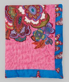Look what I found on #zulily! 30'' x 40'' Pink & Blue Floral Quilt #zulilyfinds