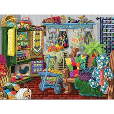 The Quilt Fair 1000 Piece Jigsaw Puzzle - Sunsout Difficult Jigsaw Puzzles, 1000 Piece Jigsaw Puzzles, Sunsout Puzzles, Best Jigsaw, Arts And Crafts Movement, Novelty Gifts, Textile Art, Cool Art, Illustration Art