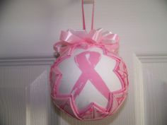 Breast Cancer Awareness Ribbon Quilted Ornament by BayCountryCreations on Etsy https://www.etsy.com/listing/196952940/breast-cancer-awareness-ribbon-quilted