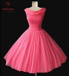 1950's vintage retro hot pink prom dress short pink evening dress ,pageant dress pink , 1960's vintage knee length bridesmaid for wedding on Etsy, $85.00