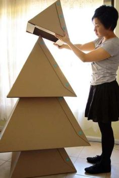 Christmas Tree made out of cardboard.