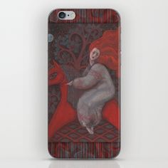 Red Horse, redhaired woman, magic night forest, folk art iPhone & iPod Skin…
