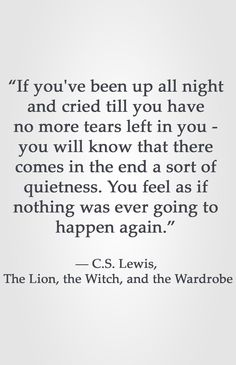 """If you've been up all night and cried till you have no more tears left in you - you will know that there comes in the end a sort of quietness. You feel as if nothing was ever going to happen again. Lewis, The Lion, the Witch, and the Wardrobe Quotable Quotes, Wisdom Quotes, Quotes To Live By, Me Quotes, Lyric Quotes, People Quotes, Sunset Quotes, Lyric Art, Change Quotes"