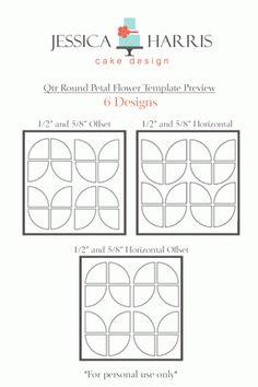 Quarter Round Flower Petal Cake Template - 3 Designs - Jessica Harris Cake Design