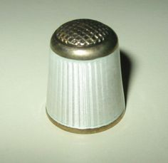 RARE AKSEL HOLMSEN NORWAY STERLING ENAMEL THIMBLE, MINT CONDITION NO# 2