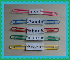 Very clever idea for conjunctions.  Great way to make compound and complex sentences.LOVE THIS )Kids can do in their notebooks or make a chain with friends..Great VISUAL that will teach meaning as well as be hands on!
