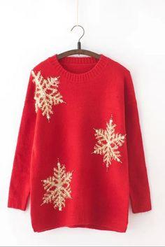 Christmas snowflake nail bead sweater