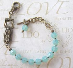 Rosary Bracelet, Swarovski Opal Crystals and Bronze Metal, Our Lady of Guadalupe, Adjustable Rosary Bracelet