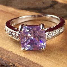 2ct Princess Cut Tourmaline & White Sapphires 925 Silver Ring| CH036 |. Starting at $1