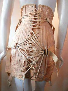 1930s pink back lace corset. Pink floral satin jaquard with loads of boning and mega straps in back.