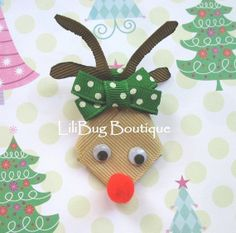 LiliBug Winter Christmas Holiday RUDOLPH the Red Nose Reindeer Hair Clip