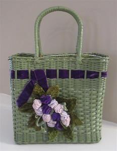 Vintage Wicker Basket Velvet Roses Flowers Box Purse Handbag Cottage Green Lilac Purple Handmade Handcrafted