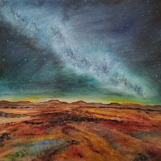 original oil painting, landscape, abstract, desert, stars, star, milky way, night, sky, clouds, mountains, wilderness, canvas, home, decor Sky Landscape, Landscape Paintings, Landscapes, Original Artwork, Original Paintings, Oil Paintings, Star Painting, Sky And Clouds, Milky Way