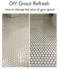 Bathroom Floor Refresh: how I changed the color of my grout - Painted Floor Tile Floor Grout, Bathroom Floor Tiles, Tile Floor, Cleaning Bathroom Grout, Regrout Shower Tile, Black Bathroom Floor, Shower Grout, Painting Bathroom Tiles, Tile Bathrooms