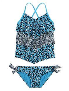 Cheetah Ruffle Tankini Swimsuit | Girls Swimsuits Swimwear | Shop Justice