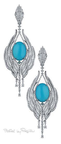 Regilla ⚜ Gems Jewelry, High Jewelry, Diamond Jewelry, Diamond Earrings, Turquoise Earrings, Chandelier Earrings, Beautiful Earrings, Vintage Jewelry, Jewelry Design