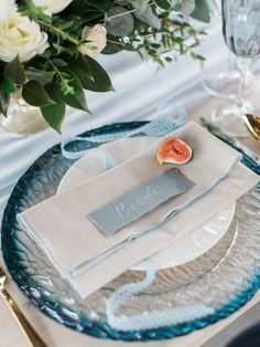 blue and white wedding table place setting