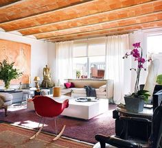 I love the unexpected red pop of this Eames rocker against the neutral colors in this living room. Eames Rocker, Eames Rocking Chair, Family Room Design, Cozy Room, Interior Exterior, Interior Design, Modern Room, Home Decor Styles, Decoration