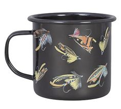 """WWAGS029/$15.50:  Be """"lured"""" away for a break with this enamel mug, sure to be a hit with the angler in someone you love.    Not microwave safe.  Holds 12 oz.  Gift boxed."""