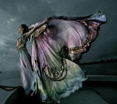 Cloak and dress? Dress with cloak? All beautiful butterfly effect-y.