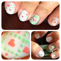 Nail heart pink Green cross