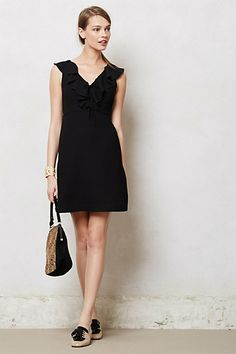 Ruffled Crepe Dress #anthropologie Amy, it comes in hot pink.