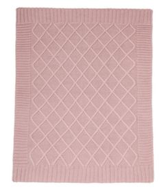 Knitted Blanket - 70 x 90cm - Dusky Rose