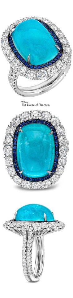~A Rare 12.34ct Brazilian Paraiba Tourmaline, Cushion Cabochon, Sapphire and Diamond Ring by Rylaarsdam | The House of Beccaria#