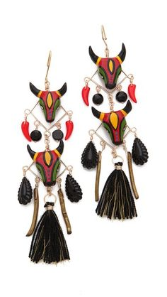 Mercedes Salazar Bull Face Drop Earrings