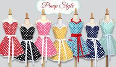 Polka Dot Rockabilly Pin up Womens Retro Vintage Style Kitchen Aprons by Creative Chics