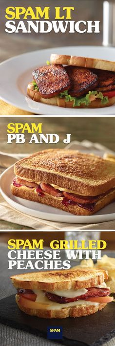 The best thing since sliced bread is sliced SPAM® Brand between bread! Get lunch sizzling with these 3 easy and exciting twists on classic sandwiches. Ono Kine Recipes, Spam Recipes, Retro Recipes, Cooking Recipes, Lunch Recipes, Weird Food, Special Recipes, Sandwiches, Hamburgers