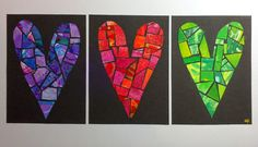 Funky Bazaar: Gelli Print Stained Glass Mosaic Hearts