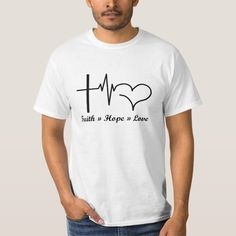 Heartbeat Faith Hope Love Christian and Catholic T-Shirt - tap, personalize, buy right now! #TShirt  #christian #tank #top #jesus #cross Christian Christmas, Religious Cross, Faith Hope Love, Christian Shirts, In A Heartbeat, Catholic, Circuit Machine, Jesus Cross, Mens Tops