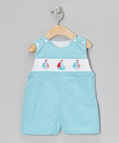 Take a look at this Turquoise Gingham Sailboat John Johns - Infant & Toddler by Sweet Teas Children's Boutique on #zulily today!