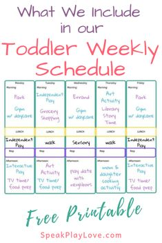 Here's Our Toddler Weekly Schedule (Free Printable Schedule)